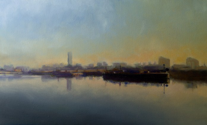 Cityscape Painting of Manchester Ship Canal by Christopher Clements
