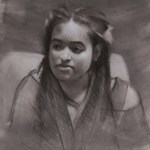 Portrait Study of Naomi in charcoal & chalk by Christopher Clements