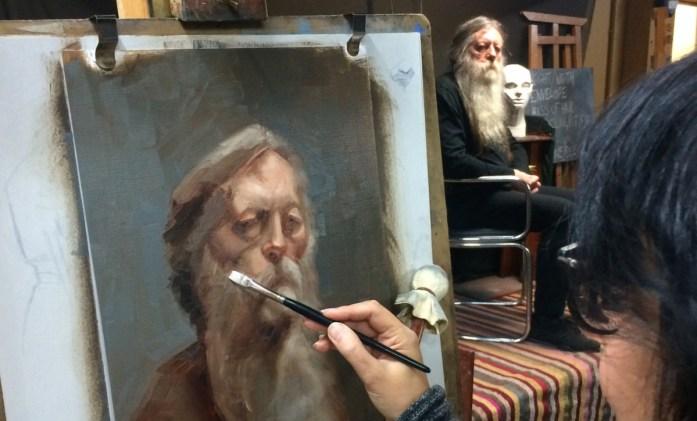 Portrait sketch using a restricted palette