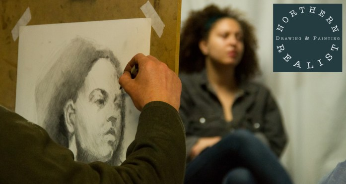 Northern Realist homepage image of portrait drawing with logo
