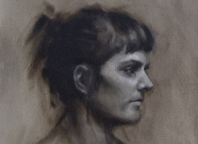 Grisaille portrait study of Hannah by Christopher Clements