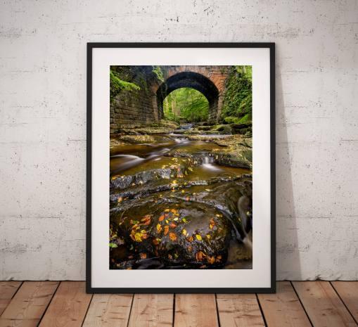 Autumn photography, Woodland, Stream, Autumnal, Trees, Bridge, North York Moors, Countryside, Landscape Photo, England, Wall art print