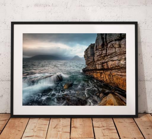 Isle of Skye Landscape photo, Elgol, Cuillins mountains, Dramatic, Waves, Scotland, Scottish Highlands, Rocks, Coast, Escape, Wall Art