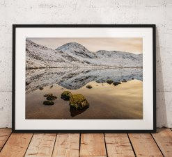 Lake District Landscape Photography, Styhead tarn, Mountain, Snow, Winter, Cumbria, England. Landscape Photo. Mounted print. Wall Art.