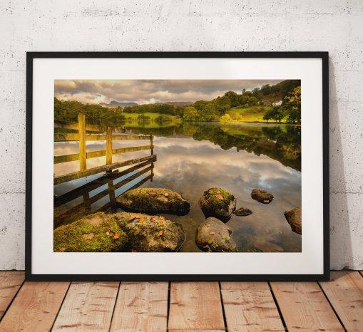 Lake District Photography, Loughrigg Tarn, Langdale Pikes, Sunrise, light, Nature, Autumn Trees, England. Landscape Photo. Home Decor, Art