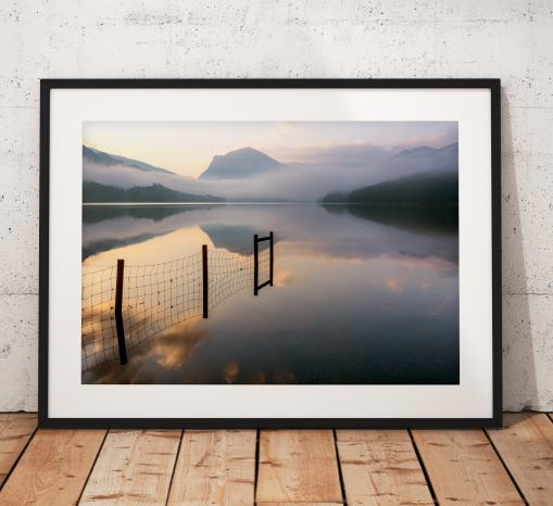 Lake District Photography showing a misty sunrise over Buttermere lake with Haystacks mountain in the distance. Wall Art, United Kingdom