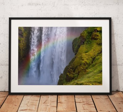 Landscape photography, Iceland, Skógafoss Waterfall, Rainbow, Nature, mist, Landscape Photo. Mounted print. Wall Art.