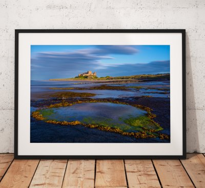 Northumberland Landscape Photography, Bamburgh Castle beach rockpool , England. Landscape Photo. Mounted print. Wall Art.