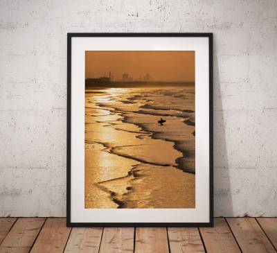 Saltburn Landscape Photography, Surfer, Golden, Beach. Sunset. coast, Seaside, North York Moors, England. Landscape Photo. Wall Art.