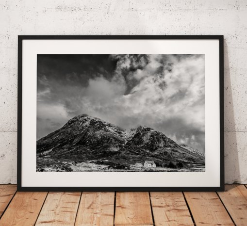 Scotland Landscape photo, Glencoe, Highlands, Scottish, Mountain,  Cottage, Buachaille Etve Mor, Black and White, Mono, Wall Art