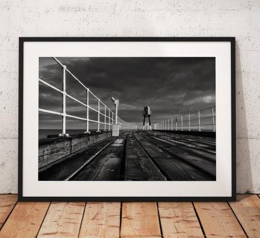 Seaside landscape photography Whitby Pier. Seaside, North York Moors, England. Landscape Photo.Black and White. Wall Art.