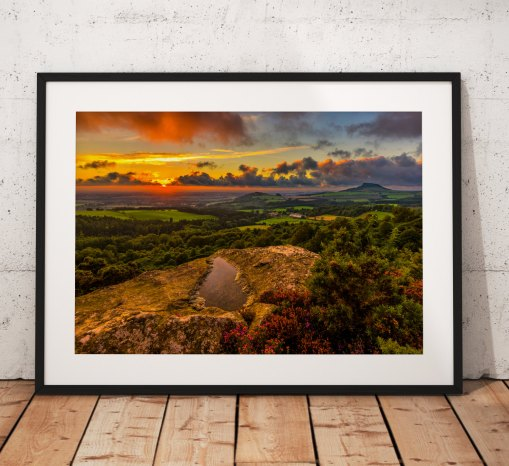 Summer sunset from Gribdale Gate looking towards Roseberry Topping. North York Moors, England. Landscape Photo. Mounted print. Wall Art.
