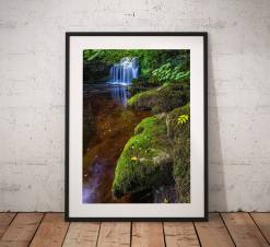 Waterfall Landscape Photography, Yorkshire Dales, water, moss,  West Burton, England.  Photo. Mounted print. Wall Art. Home Decor