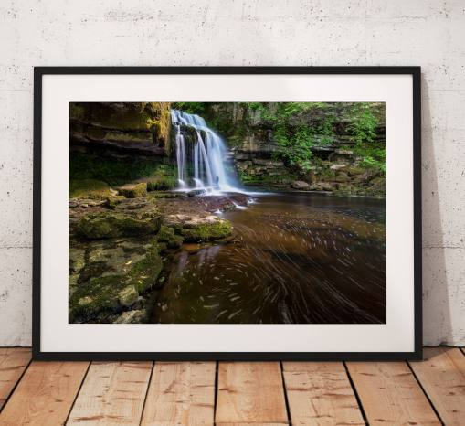 Waterfall Landscape Photography, Yorkshire Dales, water, swirl,  West Burton, England.  Photo. Mounted print. Wall Art. Home Decor