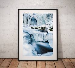 Winter Wonderland Waterfall Landscape Photography, Yorkshire Dales, frozen , Scaleber Falls, England. Photo. Mounted print. Wall Art.