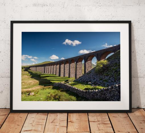 Yorkshire Dales Photography, Ribblehead Viaduct, stone wall, Railway, Summer, Cloud, England.  Photo. Mounted print. Wall Art. Home Decor