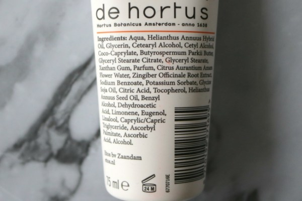 review-ervaring-etos-orange-blossom-ginger-hand-cream-ingredienten