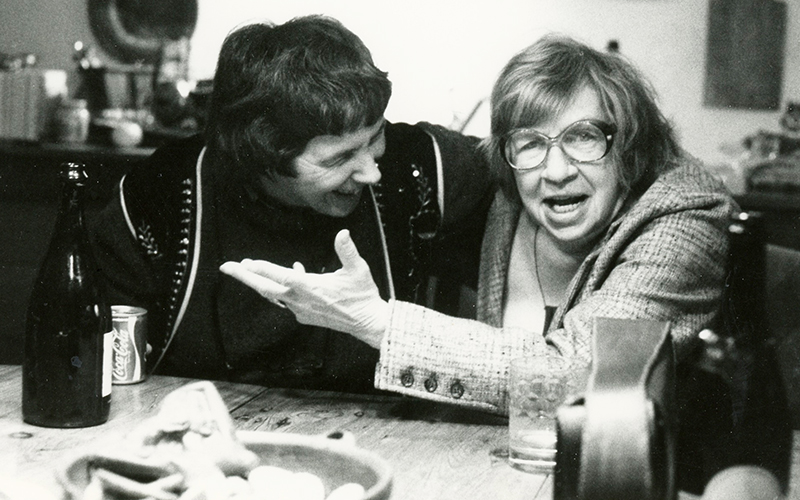 Anne MacKay (left) is entertained by photographer Edna Bennett