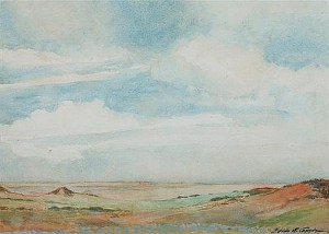 Water color rendering made by the Lindenmeier  expedition artist Edwin Cassedy.