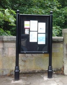 Community Council noticeboard, Belmont Street, at the top of steps into the park