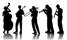 Nevis Ensemble logo: silhouettes of musicians
