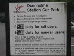 Carpark fees sign
