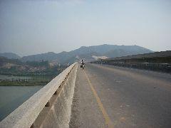 Sally crossing bridge