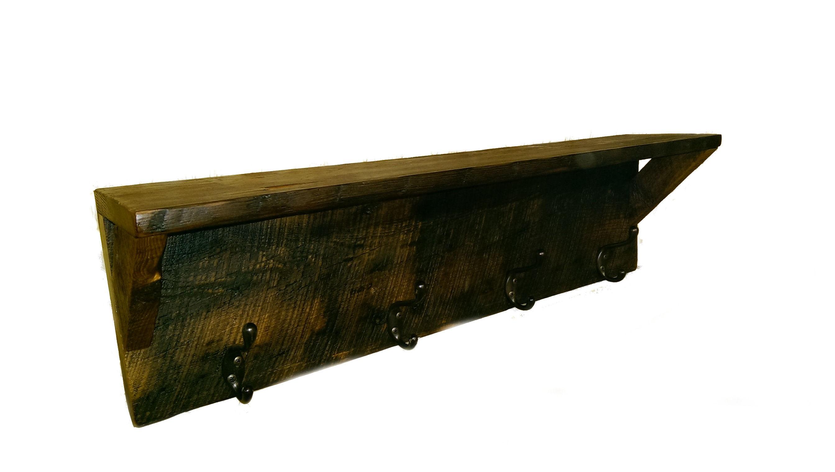 Reclaimed Barn Wood Coat Rack With Shelf