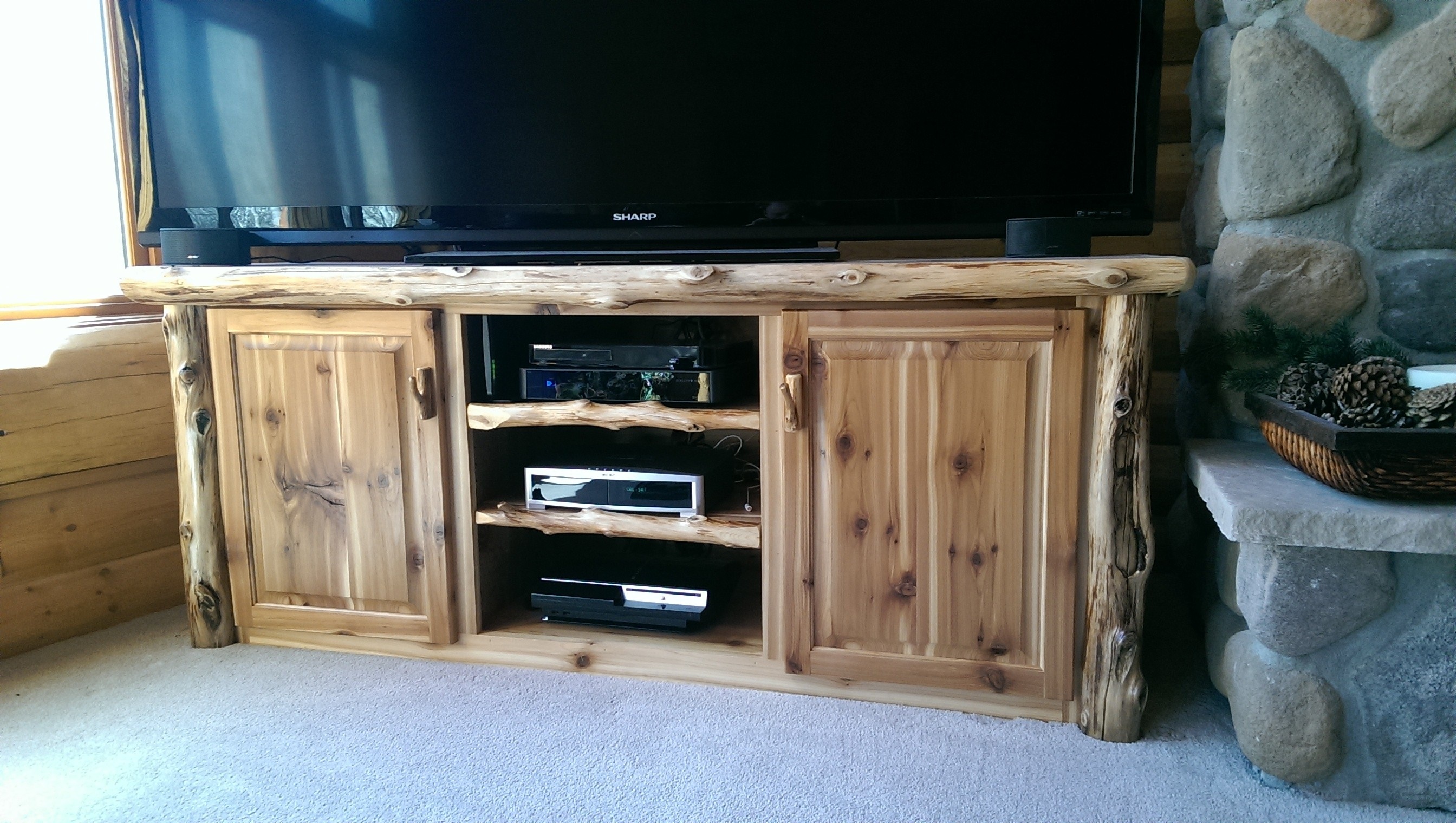 Custom Log Entertainment Center TV StandLog Furniture  White Cedar  Barnwood