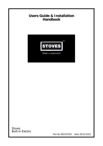 Stoves 831337203 Double Oven User Manual