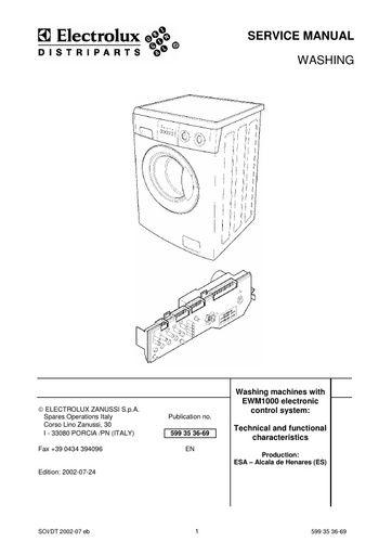 Electrolux AWF1442 SERVICE MANUAL