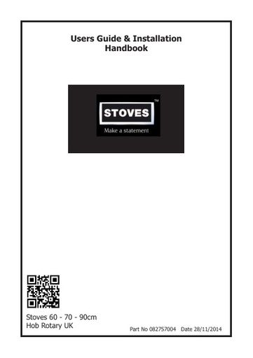 Stoves 82757004 Users Guide & Installation Handbook