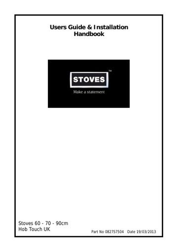 Stoves 82757504 Cooktop User Manual