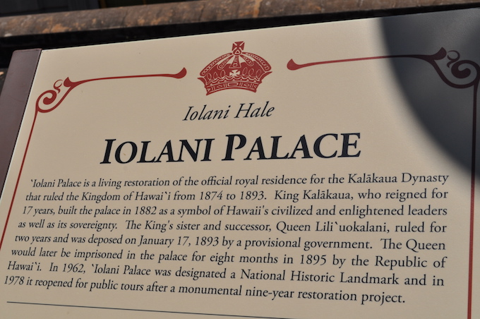Iolani Palace plaque