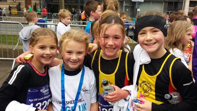 Junior ladies at the finish