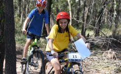 Students on mountain bikes at Adventure Race