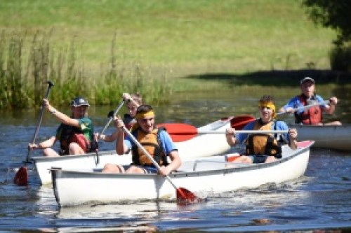 Students canoeing at Adventure Race
