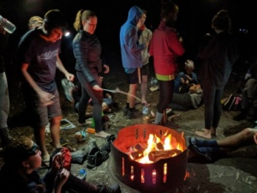 D of E students at campfire