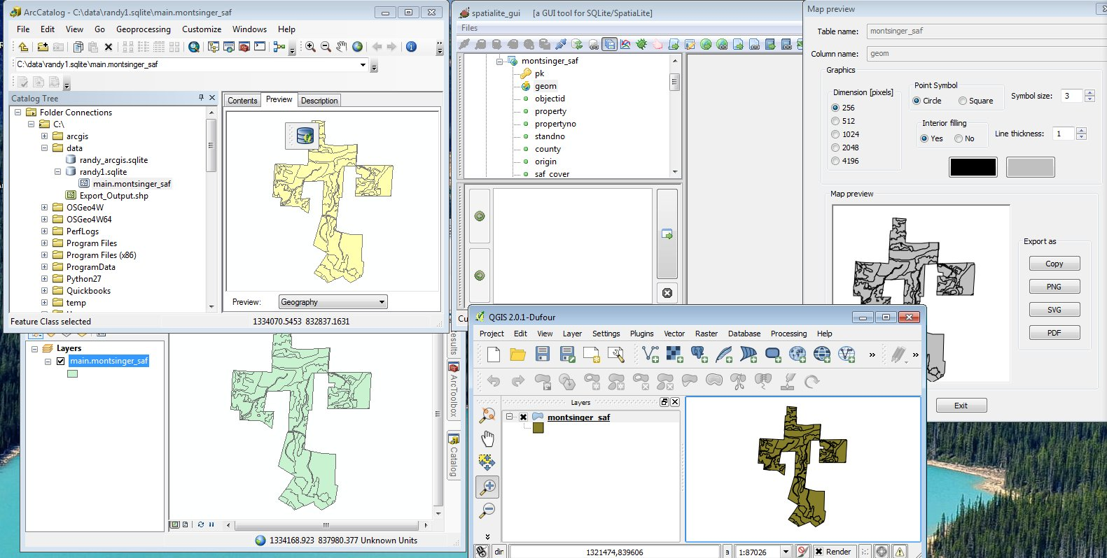Spatialite and ArcGIS and QGIS...