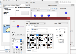 In ArcMap, right-click on the layer and select Properties > Symbology. Click on the feature symbol to change it. Add the new style set to your list by clicking on Style References. Scroll down and select the DDVs of your choice. Select a shield symbol then click on Edit Symbol to view the components of the symbol.