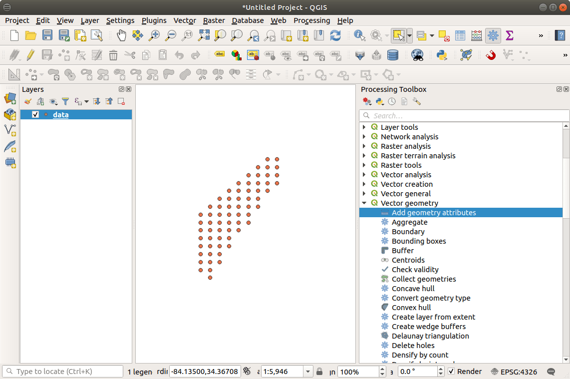 QGIS with point data added