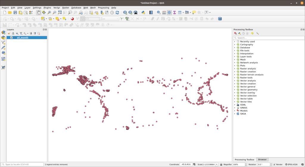 QGIS with earthquake data added
