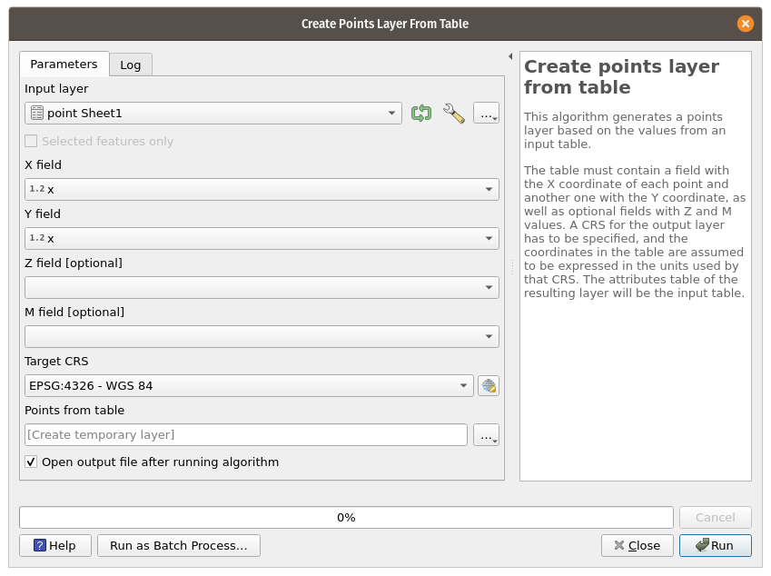 Create point layer from table processing tool.