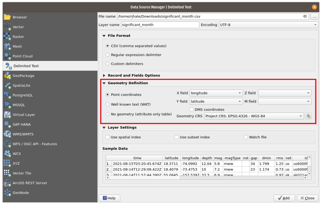Adding data to the QGIS Delimited Text Tool