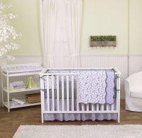 Lavender Purple Poppy Floral 5 Piece Crib Bedding Set with ...