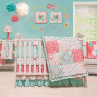 Mila Coral&Blue Floral Patchwork Baby Girl Crib Bedding 4 ...