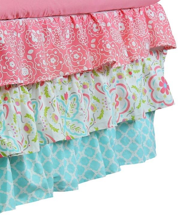 Gia Aqua Blue & Coral Pink Floral Geometric Prints