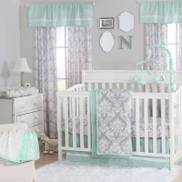 Grey Damask and Mint Green 4 Piece Baby Crib Bedding Set