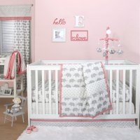 Grey Elephant and Triangle Dot 4 Piece Baby Crib Bedding
