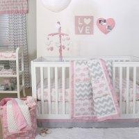 Pink Elephant and Grey Chevron Patchwork 3 Piece Crib